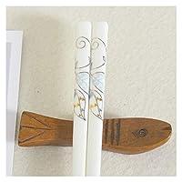 花のセラミック箸家家の磁器の再利用可能な安全な箸骨中国食器 (色 : 073)