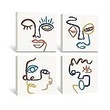 SUMGAR Cuadros en Lienzo Cara Abstractos Línea Minimalista de Decoración Hogar Boho Dibujo Obra Mid-Century Marruecos Lienzos Beige para Dormitorios Baño Cocina Sala de Estar - 30 x 30 cm 4 Paneles