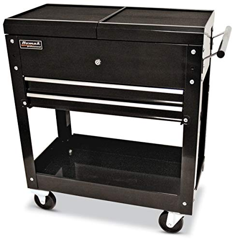 Homak 27-Inch Professional Series 2-Drawer Slide-Top Locking Serivce Cart, Black, BK06022704