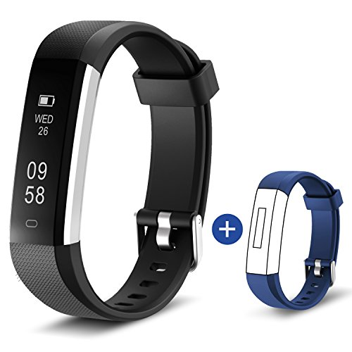 HolyHigh 115U Smart Fitness Band, Waterproof Fitness Tracker Watch for Men Women Kids Step Counter Claroie Counter Messages Call Alarm Reminder Cameral Shoot (Black+Blue)