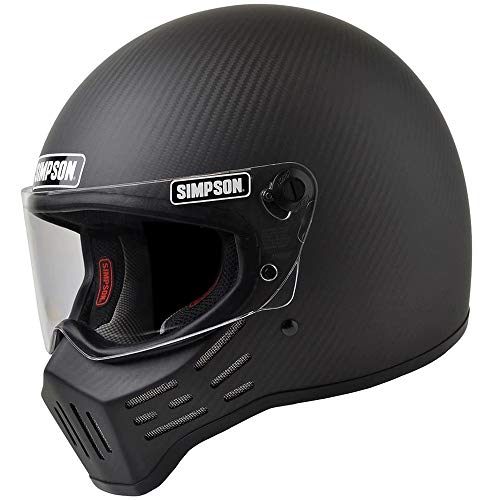 SIMPSON M30 Bandit Dot Satin Carbon Fiber Motorcycle Helmet -Large by