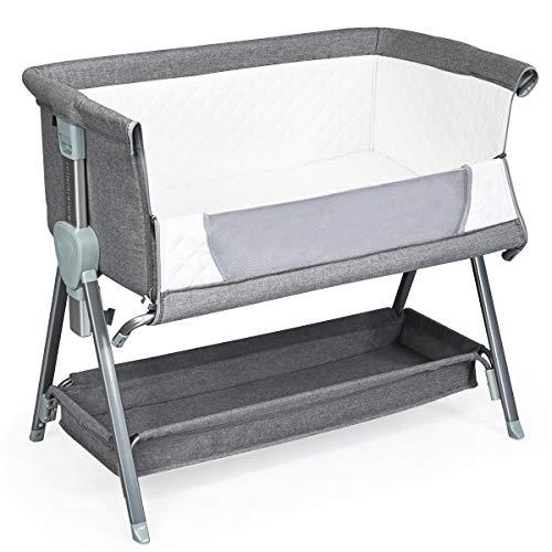 COSTWAY 2 in 1 Höhenverstellbares Beistellbett & Babybett mit Aufbewahrungskorb, Kinderbett rollbar, Reisebett inkl. herausnehmbarer Matratze und Befestigungsgurt 93 x 56 x 83 cm