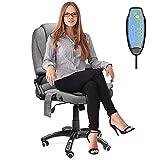 Ergonomic Massage Office Chair-High Back Fabric Heating Vibration Massage Executive Chair, Height Adjustable Reclining Swivel Computer Desk Chair Lumbar Support Armrest (Grey)