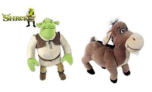 United Labels Pack 2 Peluches OGRO Y ASNO DE Shrek Burro (23 CM)