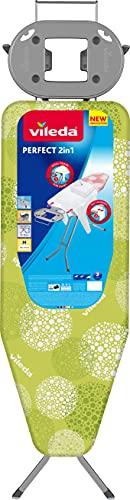 Vileda Perfect 2 in 1 - Tabla de Planchar Grande, para Prendas Extra Grandes y Camisas, Altura Regulable 77 - 95 cm, Funda de Algodón y Espuma, color Verde,122 x 44 cm