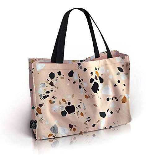 OM YA Design Baumwolltasche (Big Bag) - Einkaufstasche aus 100{9372d4d6a5ccffc0d0c8c2b21161720b8a50c1372e3fccf5f8a14ec1b785020b} Baumwolle (Rose Terrazzo)