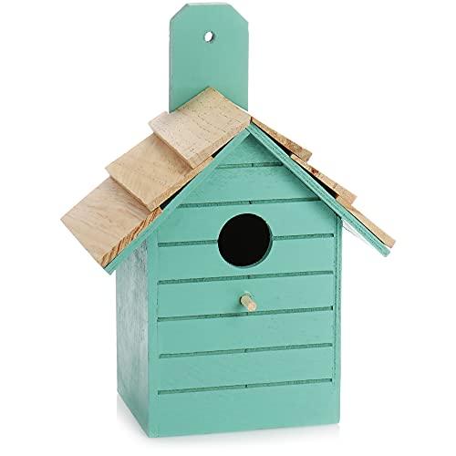 com-four® Vogelhaus aus Holz - Nistkasten für Kleinvögel - Dekoratives Futterhaus zum Aufhängen - Vogelhäuschen für kleine Wildvögel (01 Stück - 16.5x10.5x22cm türkis)