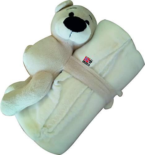 Manta polar Infantil con osito, EKEKO POLAR BEAR WITH KIDS BLANKET. Oso con cierre tipo adherente en las manitas. (Blanco)
