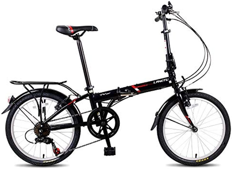KUQIQI 高品質折りたたみ自転車、20インチ男性と女性超軽量ポータブル大人自転車、学生シフト自転車