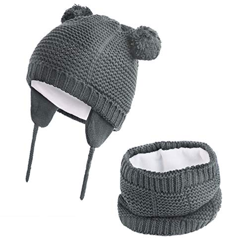 Hawiton Caliente Conjunto de Gorro y Bufanda de punto 2 piezas para niñas y niños otoño invierno, bebés suaves forro de lana Sombreros y pañuelo