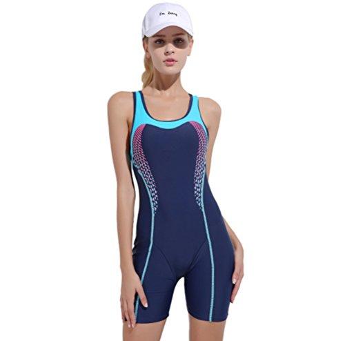 XDXART Damen Sommer Einteilige Sport Schnell Trocknende Weste Badeanzug Boxer Badeanzug Modest Gürtel Brust Pad Badeanzug (Blue, M)