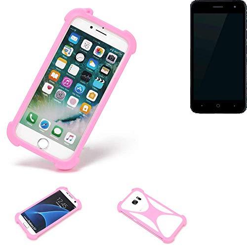 K-S-Trade® Handyhülle Für ZTE Blade L7A Schutzhülle Bumper Silikon Schutz Hülle Cover Case Silikoncase Silikonbumper TPU Softcase Smartphone, Pink (1x)