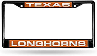 Rico Industries NCAA Laser Cut Inlaid Standard Chrome License Plate Frame, Black