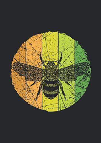 Notizbuch A5 kariert mit Softcover Design: Retro Vintage Look Biene Bienen Logo Zeichnung Geschenk: 120 karierte DIN A5 Seiten