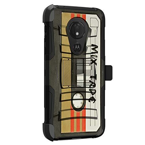 MINITURTLE Kompatibel mit Motorola Moto G7 Power, Moto G7 Supra, Moto G7 Optimo Maxx Hartschalen-Hybrid-Dual-Layer-Holster-Gürtelclip [Clip Armor] – Mix Tape