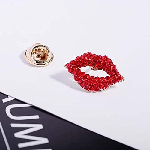 Broches de Labios Sexis, Pin Rojo Vintage para Mujer, joyería de Diamantes de imitación, Ropa, Bufanda, Hebilla, Accesorios para Prendas, alfileres, Regalo
