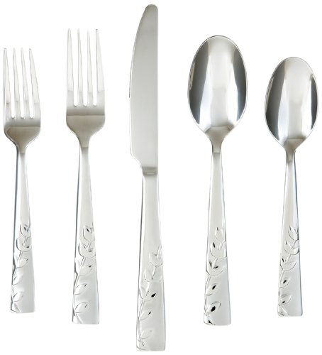 Cambridge Silversmiths 268320R Blossom Sand 20-Piece Flatware Silverware Set, Service for 4, Stainless Steel, Includes Forks/Knives/Spoons, Brushed Finish