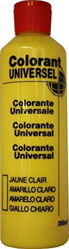 Jaune Clair Colorant Universel Concentré 250 ml pour toutes peintures décoratives et bâtiment. Grande compatibilité aussi bien en milieux solvant et aqueux. Convient également à la coloration des enduits , plâtres , et résines. Grande facililté de dosage grâce à son bouchon compte goutte