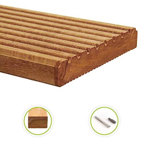 HORI® Bangkirai-Terrassendielen Standard I Komplettset, massive Holz-Terrassendielen I Dielenlänge 3,05 m I Fläche 5 m²