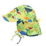 i play. by green sprouts Baby Boys' Flap Hat | All-Day UPF 50+ Sun Protection for Head, Neck, Eyes, Green Sealife, 9/18mo