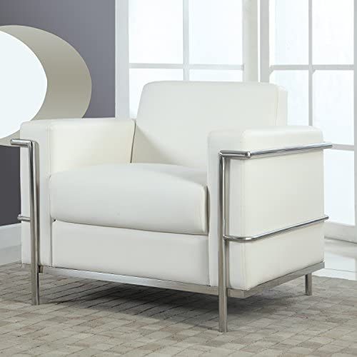 Best Best Master Furniture Executive Faux Leather Club Accent Chair, Medium, White