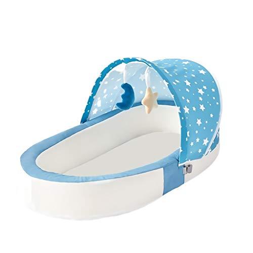 DUOER home Lit de Voyage Bébé Lit de bébé Portable Multi-Fonction Mode Berceau Momie Sac Voyage Bébé Cirb avec Parasol Couffin Bed ( Color : Blue )