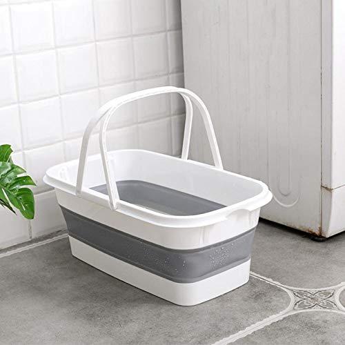 SZLGPJ Cubo Plegable de fregona Plegable Plegable lavamanos portátil Dishpan con Mango para la Pesca de Camping