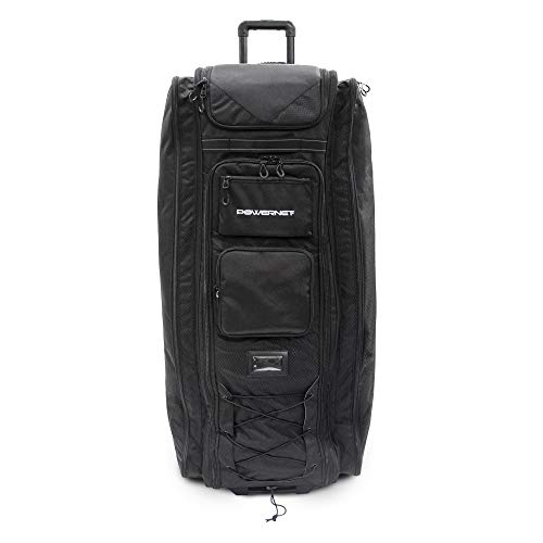 PowerNet All Gear Transporter | Rolling Baseball Equipment Bag for Coaches All w/Terrain Wheels | Large Main Compartment Fits Four 7x7 Net or Training Equipment Bags | Side Bat Sleeve and 20+Pockets