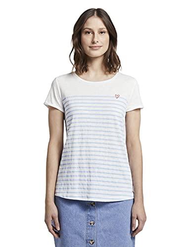 TOM TAILOR Denim Streifen T-Shirt, Damen, Blau M