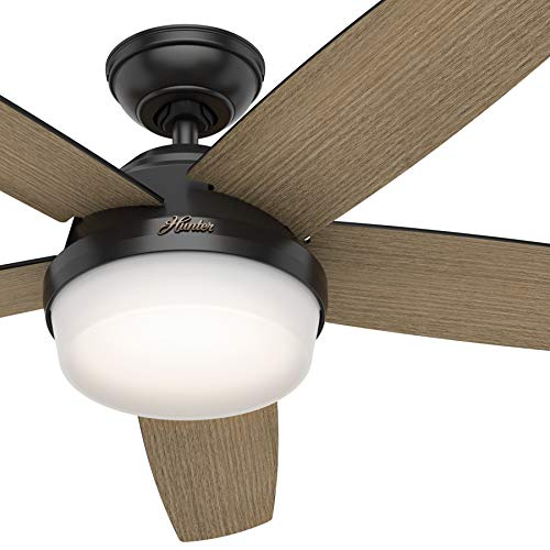 Hunter Fan 52 inch Contemporary Matte Black Indoor Ceiling Fan with Light Kit and Remote Control (Renewed)