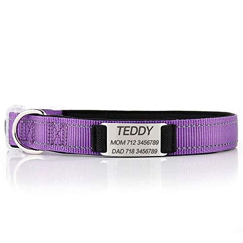 Oncpcare Collar de perro personalizado, collar de perro reflectante personalizado con nombre número de teléfono, collares de identificación ajustables para perros