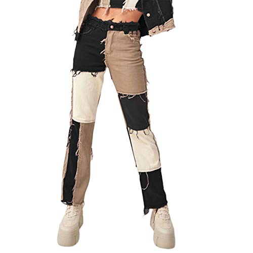 Carolilly Straight Jeans Damen High Waist Hose Patchwork Damen Jogginghose Push Up Farbblock Denim Hose Damen Streetwear (schwarz, L)