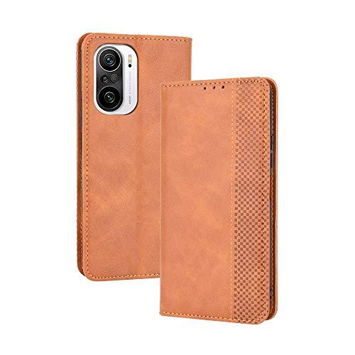 LAGUI Kompatible für Xiaomi Poco F3 Hülle, Leder Flip Hülle Schutzhülle für Handy mit Kartenfach Stand & Magnet Funktion als Brieftasche, braun