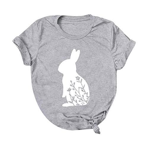 BUKINIE Womens Saint Patrick Printed T Shirt, St Patricks Day Rabbit Print Loose Blouses Soft Tops Spring Summer Casual Tee Gray
