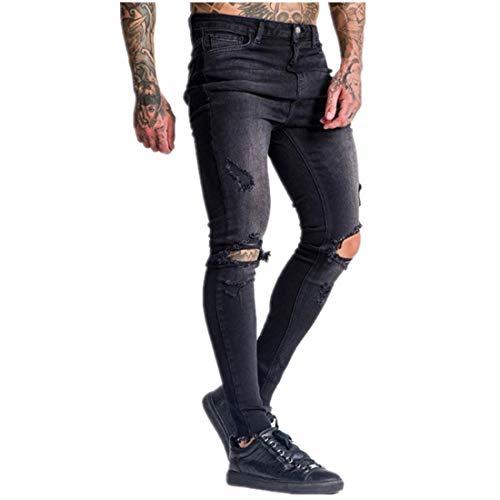 Herren Jeans Damaged Slim Fit Denim Street Pants Jungen Skinny Knöchel Casual Stretch Hose Bike Ripped Jeans Gr. 27-32, Schwarz