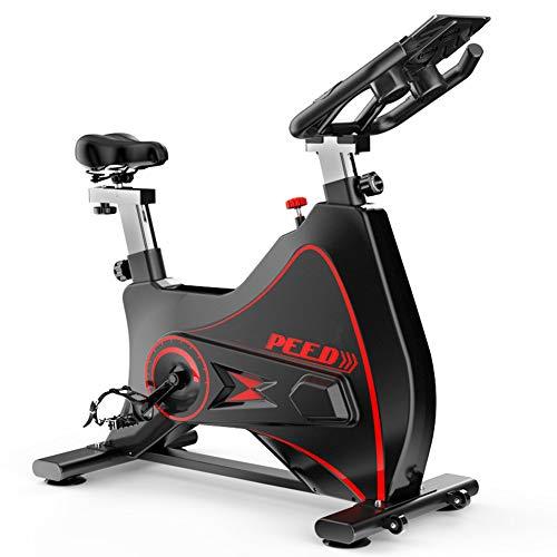 YourBooy Bicicleta estática Profesional para Interiores, frecuencia cardíaca inalámbrica Bluetooth interactiva en Vivo, Volante Cromado, Sistema de transmisión por Correa Ultra silencioso,Negro