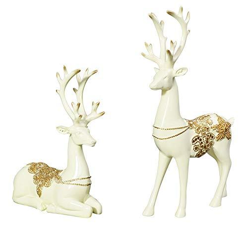 SSRSHDZW Elk Joyería Creativa Resina Decoración del Hogar Artesanía Escultura Regalo Pareja Ciervo Modelo Adornos Navideños Regalo De Cumpleaños,Blanco