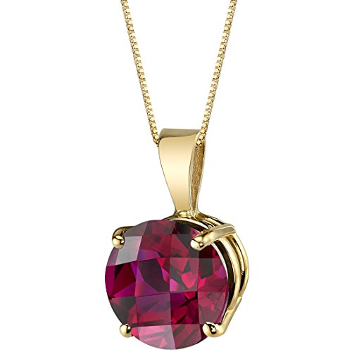 14 Karat Yellow Gold Round Cut 2.50 Carats Created Ruby Pendant