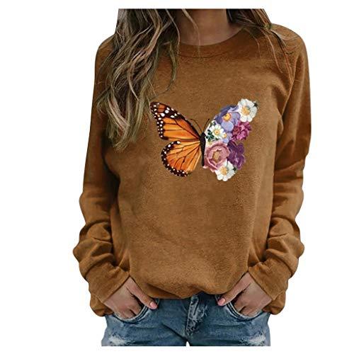 BOIYI Camiseta Manga Larga de Cuello Redondo Mujer Jersey con Estampado de Mariposas y Flor Casual Camiseta Otoño Primavero Sudaderas Blusa Tops Pullover(Marrón,M)