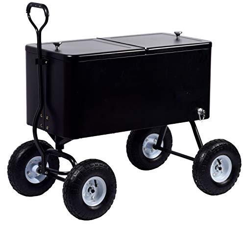 Robuster Getränkewagen mit luftgefüllten Reifen, ziehbarer Kühlwagen für unterwegs, 81 x 41 x 120 cm, 76 Liter