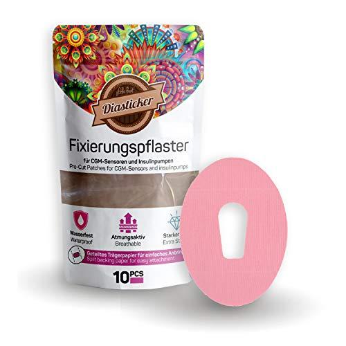 Diasticker® | Dexcom G6 Fixierpflaster XL (10 Stück, Rosa) | Wasserfest - Atmungsaktiv - Starker Halt | Pflaster, Sensor Patch, Fixierung, Tape - Erhältlich in 4 Farben