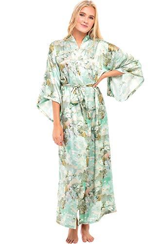 Alexander Del Rossa Women's Long Satin Kimono Robe, XL Teal Pattern (A0462W25X) Alaska