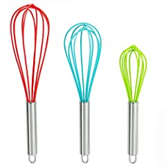 STRONG & DURABLE - This DRAGONN kitchen whisk set is made of high quality durable stainless steel and silicone wires that won't scratch dishes. Ergonomically designed for excellent balance and control for a difference you can really feel in the hand....