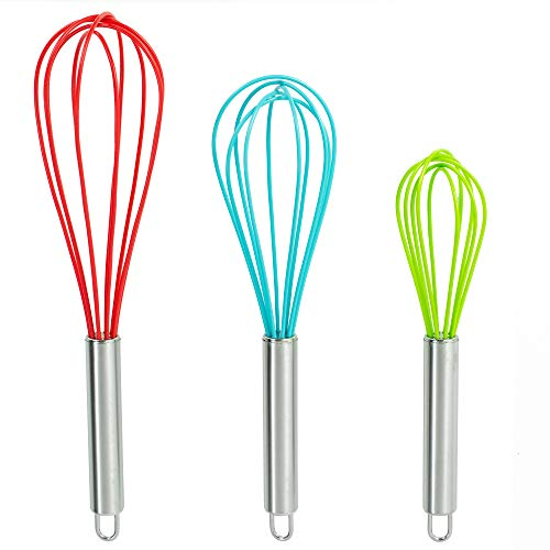 Set of 3 Multi-Color Silicone whisks with stainless steel handles. Milk & Egg Beater Balloon Metal Whisk for Blending, Whisking, Beating and Stirring. Whisks for cooking by Dragonn. (Multi Color)