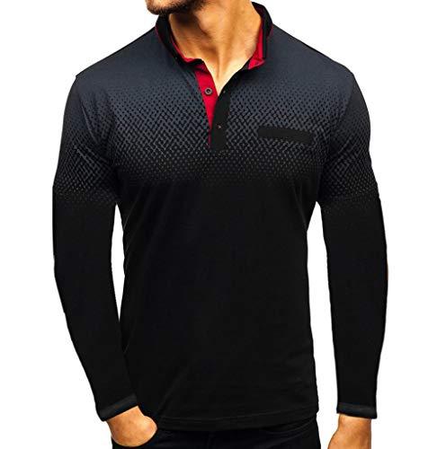 Yowablo Herren Poloshirt Polohemd Stehkragenshirt Kurzarmshirt Funktionsshirt Sportshirt Fitness Shirt Tee T-Shirt Sporthemd Trainingsshirt Sportswear T-Shirt (L,4Schwarz)