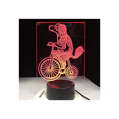 TIDRT Lámpara De Mesa 3D Circo Perro Montar En Bicicleta Acrobacias Rendimiento Color 16 Colores Luz De Noche Led Iluminación Decoración del Hogar Niño Niña Regalo De Cumpleaños