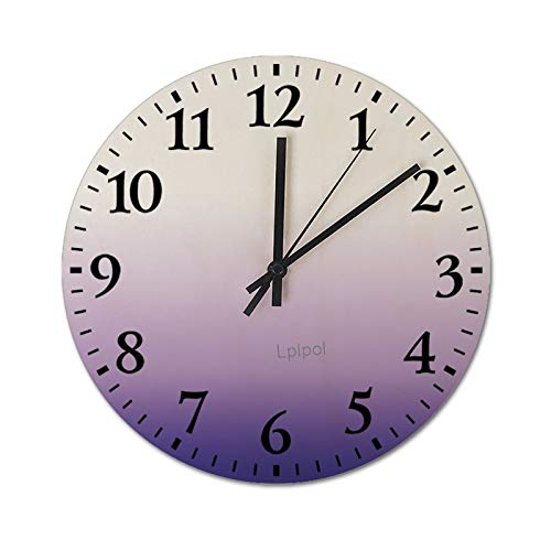 Lplpol Gradient Lavender Wall Clock, 12 Inch Dia Round Silent Non-Ticking Wall Clock Wooden Time Clock for Living Room Bedroom Kitchen, SDS lcd9etnd4wcs