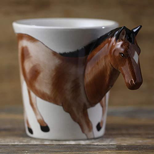 JINQIANSHANGMAO Taza de café de cerámica con diseño de caballo de animal creativo con mango personalizado pintado a mano estilo pastoral personalizado de la oficina