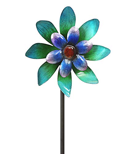 Dehner Windrad, Ø 22 cm, Höhe 140 cm, Metall, blau/türkis