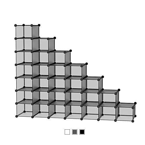 SIMPDIY Organizador Zapatos Modular 32 Cubos para 32 Pares Zapatos Organizador, Estantería de Gabinete Modular para Ahorro de Espacio 32 Cubos Gris(35x22x17cm)